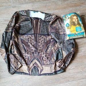 Mens Aquaman Shirt Costume M with Wig Kit